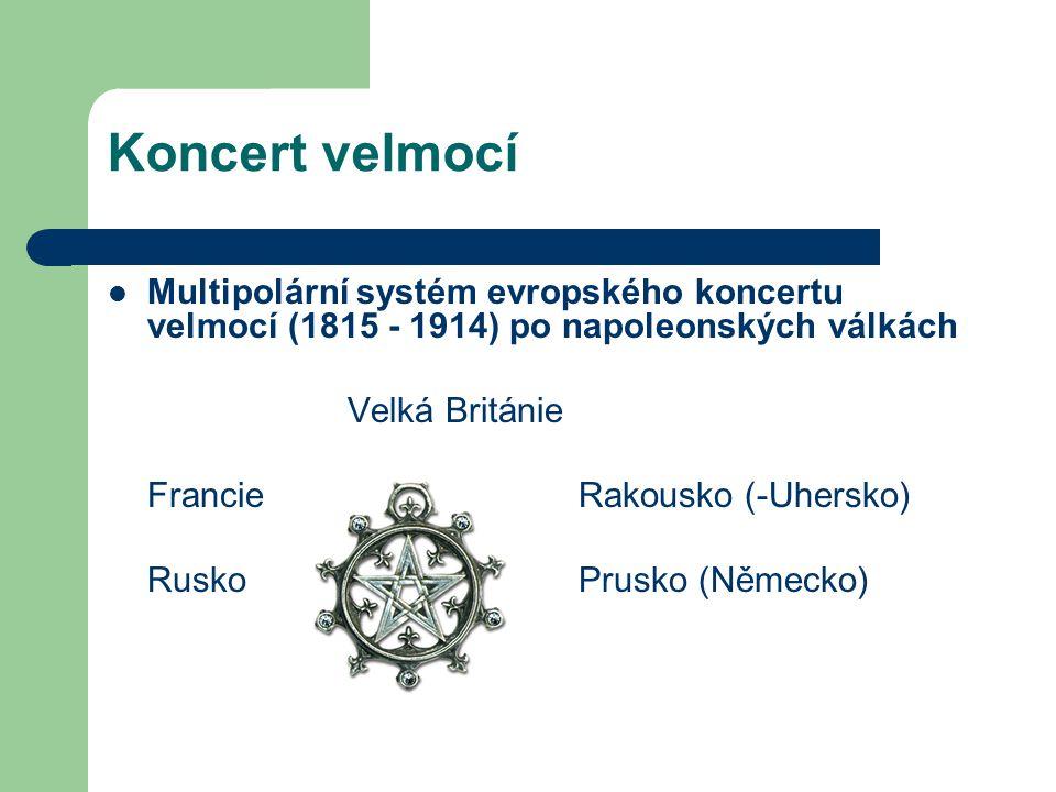 Koncert velmocí Multipolární systém evropského koncertu velmocí (1815 - 1914) po napoleonských válkách Velká Británie Francie Rakousko (-Uhersko) Rusk