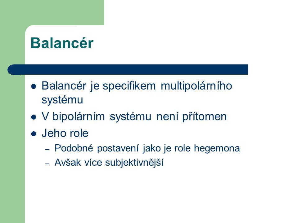 Balancér je specifikem multipolárního systému V bipolárním systému není přítomen Jeho role – Podobné postavení jako je role hegemona – Avšak více subj