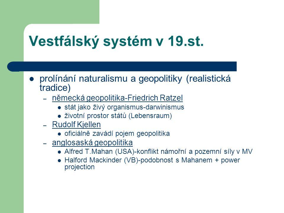 Vestfálský systém v 19.st. prolínání naturalismu a geopolitiky (realistická tradice) – německá geopolitika-Friedrich Ratzel stát jako živý organismus-
