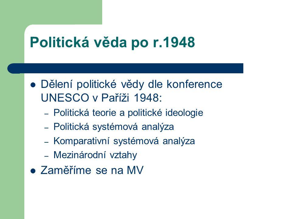 Politická věda po r.1948 Dělení politické vědy dle konference UNESCO v Paříži 1948: – Politická teorie a politické ideologie – Politická systémová ana