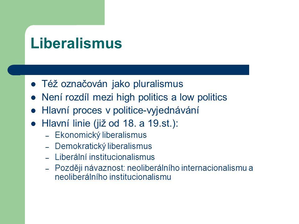 Liberalismus Též označován jako pluralismus Není rozdíl mezi high politics a low politics Hlavní proces v politice-vyjednávání Hlavní linie (již od 18