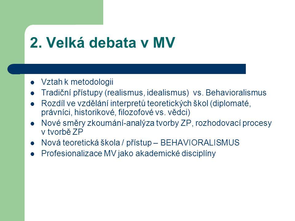 2. Velká debata v MV Vztah k metodologii Tradiční přístupy (realismus, idealismus) vs. Behavioralismus Rozdíl ve vzdělání interpretů teoretických škol