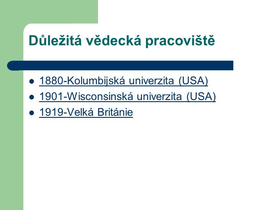 Důležitá vědecká pracoviště 1880-Kolumbijská univerzita (USA) 1901-Wisconsinská univerzita (USA) 1919-Velká Británie