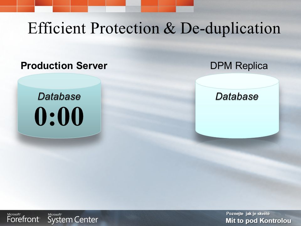 Poznejte jak je skvělé Mít to pod Kontrolou Efficient Protection & De-duplication DPM ReplicaProduction Server