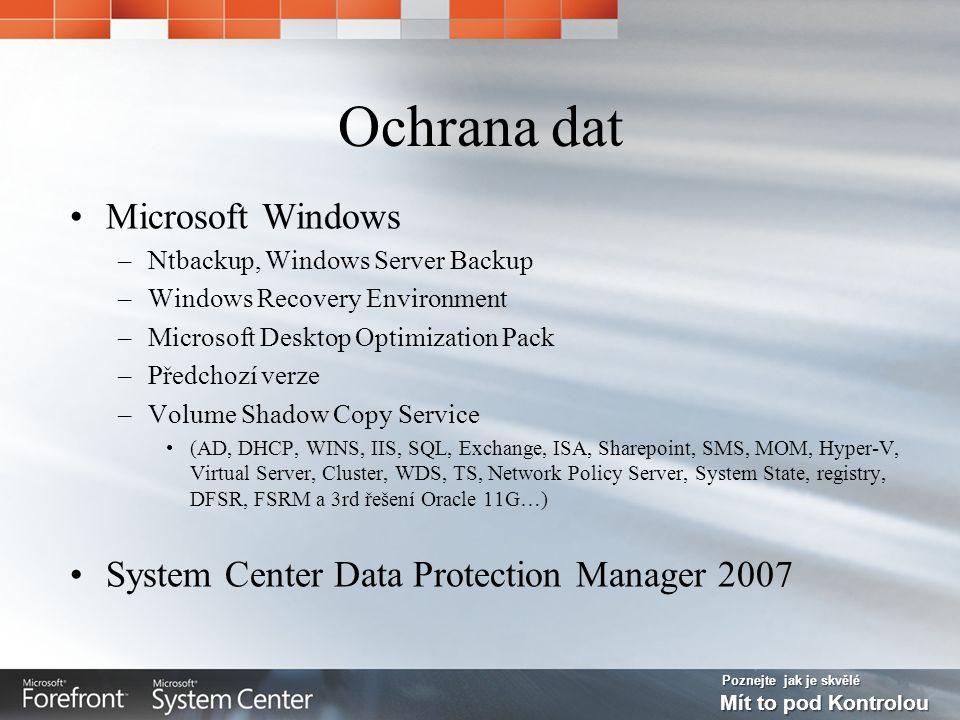 Poznejte jak je skvělé Mít to pod Kontrolou Ochrana dat Microsoft Windows –Ntbackup, Windows Server Backup –Windows Recovery Environment –Microsoft Desktop Optimization Pack –Předchozí verze –Volume Shadow Copy Service (AD, DHCP, WINS, IIS, SQL, Exchange, ISA, Sharepoint, SMS, MOM, Hyper-V, Virtual Server, Cluster, WDS, TS, Network Policy Server, System State, registry, DFSR, FSRM a 3rd řešení Oracle 11G…) System Center Data Protection Manager 2007