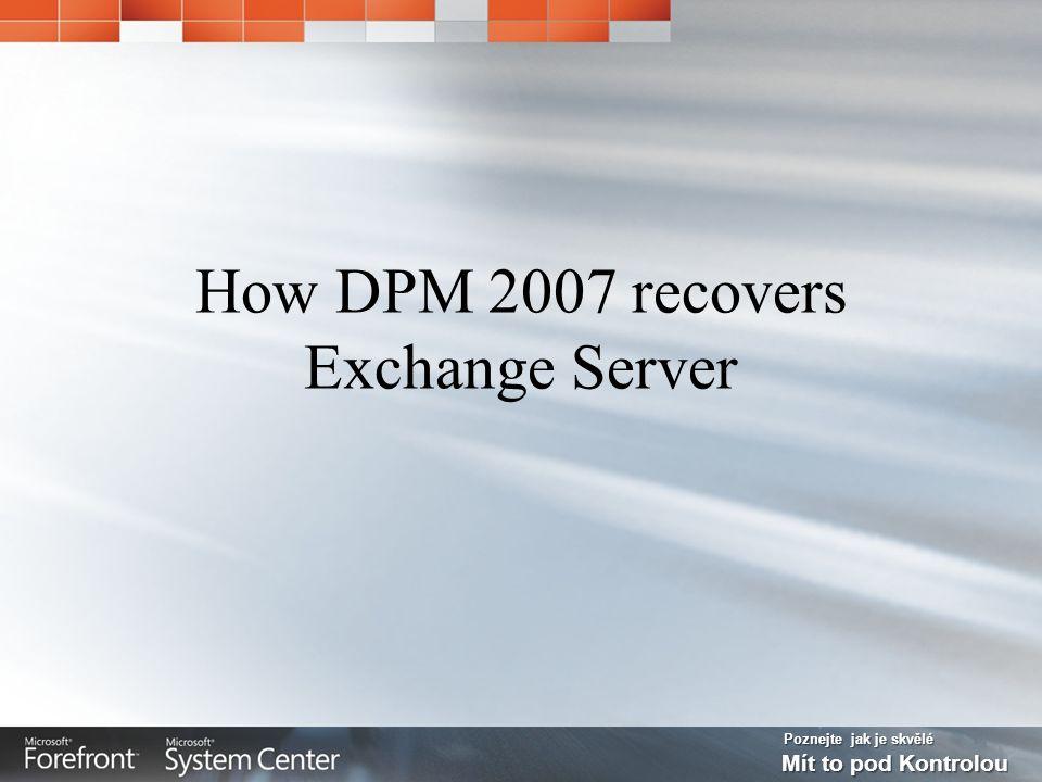 Poznejte jak je skvělé Mít to pod Kontrolou How DPM 2007 recovers Exchange Server