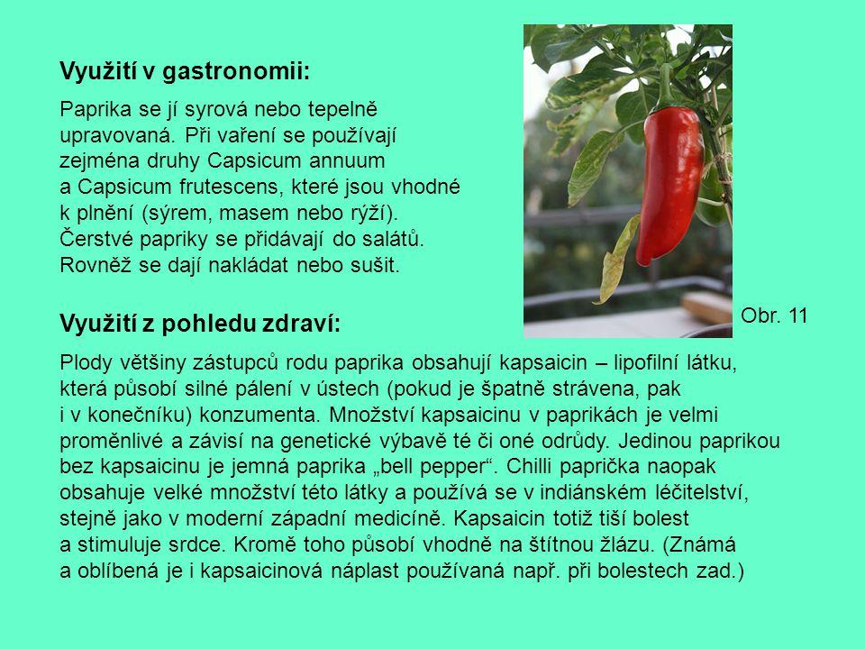 Využití v gastronomii: Paprika se jí syrová nebo tepelně upravovaná. Při vaření se používají zejména druhy Capsicum annuum a Capsicum frutescens, kter