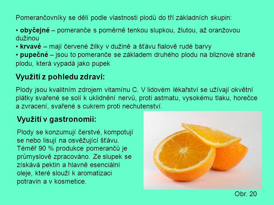 Pomerančovníky se dělí podle vlastnosti plodů do tří základních skupin: obyčejné – pomeranče s poměrně tenkou slupkou, žlutou, až oranžovou dužinou kr