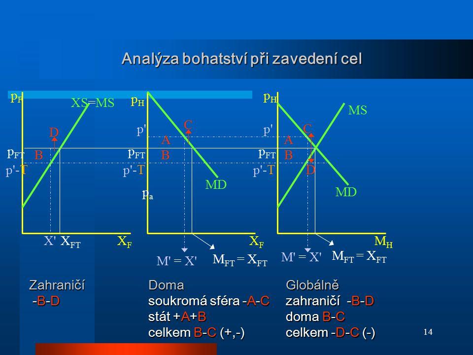 14 Analýza bohatství při zavedení cel p' MD XS=MS MS p FT M FT = X FT X' M' = X' X FT pFpF pHpH XFXF MHMH papa pHpH XFXF p'-T MD p'-T p' p FT M FT = X