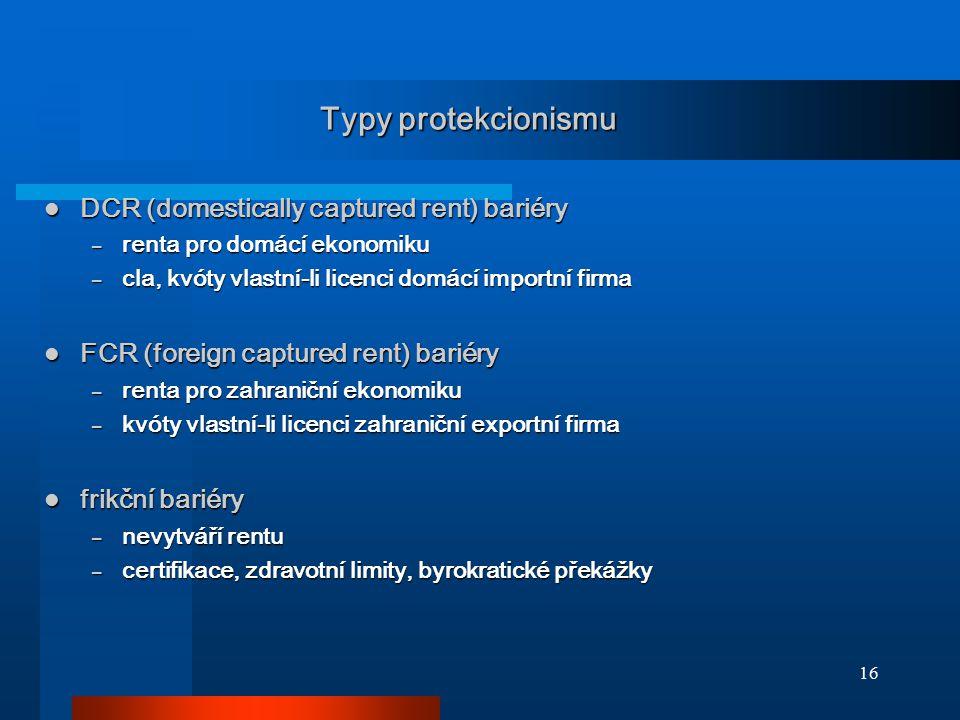 16 Typy protekcionismu DCR (domestically captured rent) bariéry DCR (domestically captured rent) bariéry – renta pro domácí ekonomiku – cla, kvóty vla