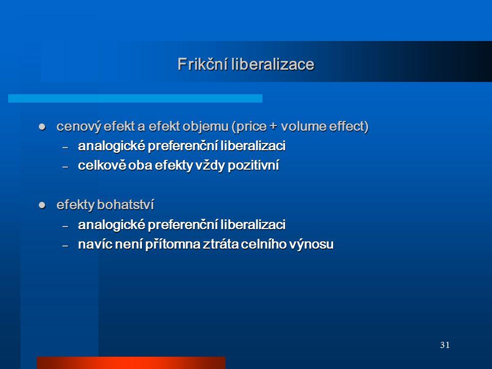 31 Frikční liberalizace cenový efekt a efekt objemu (price + volume effect) cenový efekt a efekt objemu (price + volume effect) – analogické preferenč