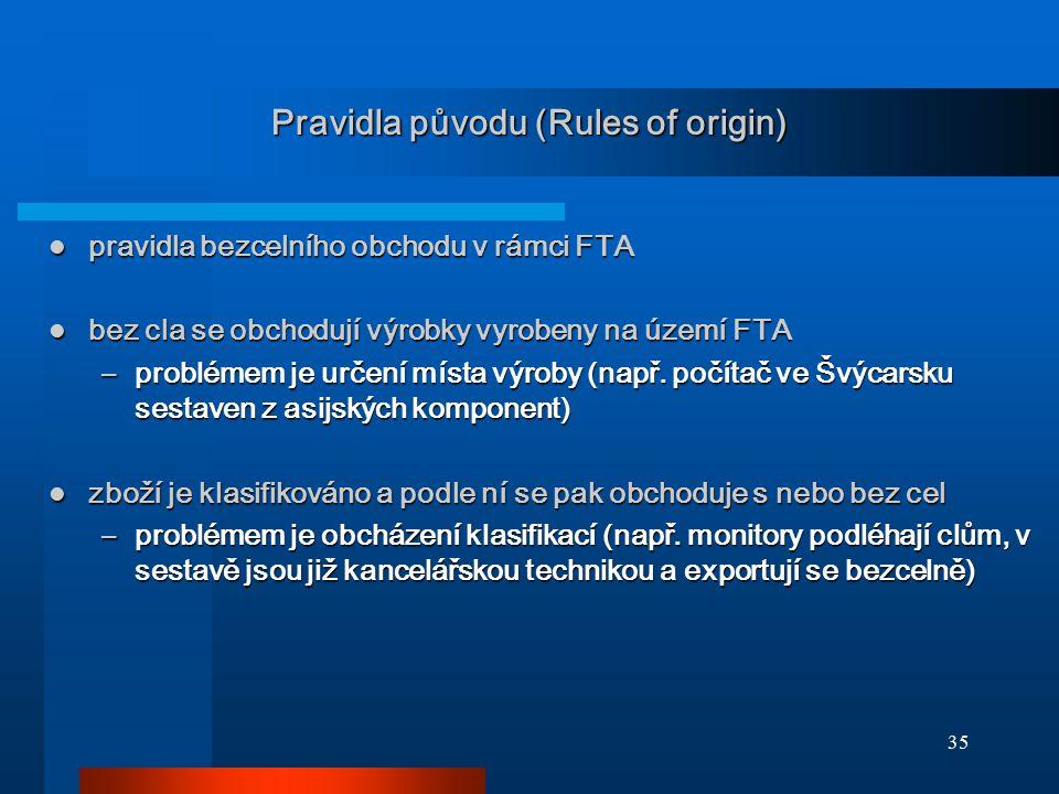 35 Pravidla původu (Rules of origin) pravidla bezcelního obchodu v rámci FTA pravidla bezcelního obchodu v rámci FTA bez cla se obchodují výrobky vyro