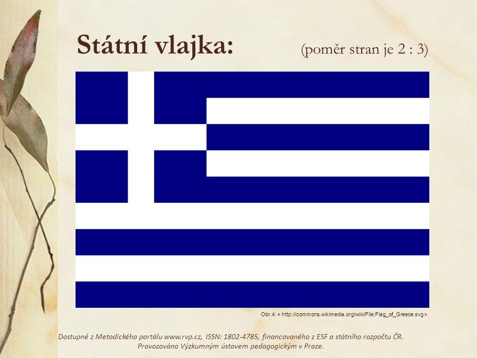 Státní vlajka: Řecká vlajka má devět vodorovných pruhů: pět modrých a mezi nimi čtyři bílé.