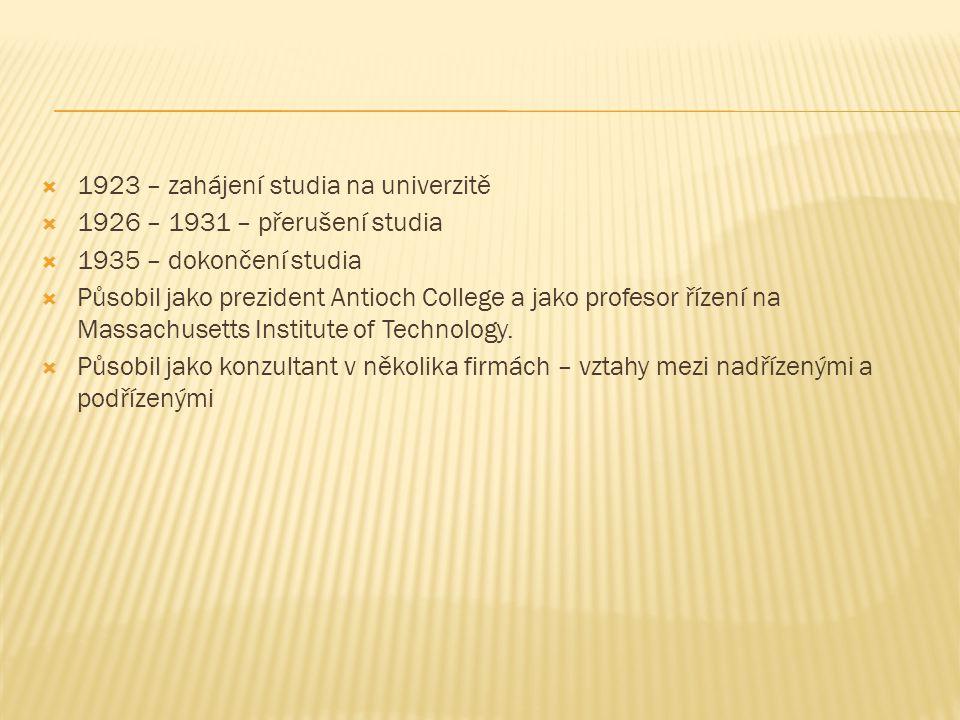  1923 – zahájení studia na univerzitě  1926 – 1931 – přerušení studia  1935 – dokončení studia  Působil jako prezident Antioch College a jako profesor řízení na Massachusetts Institute of Technology.