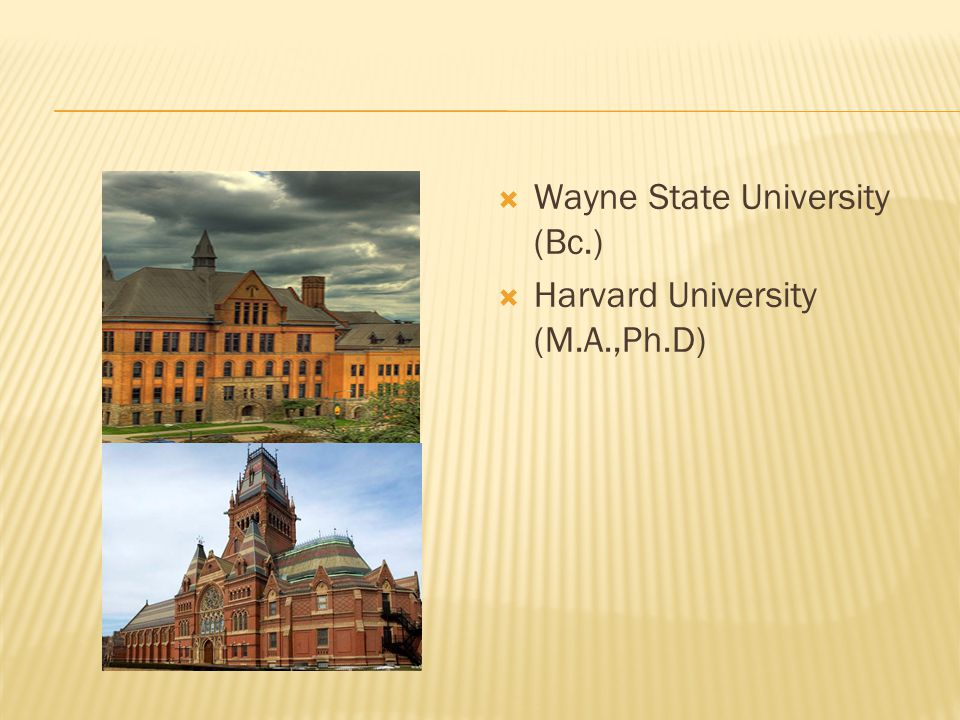  Wayne State University (Bc.)  Harvard University (M.A.,Ph.D)