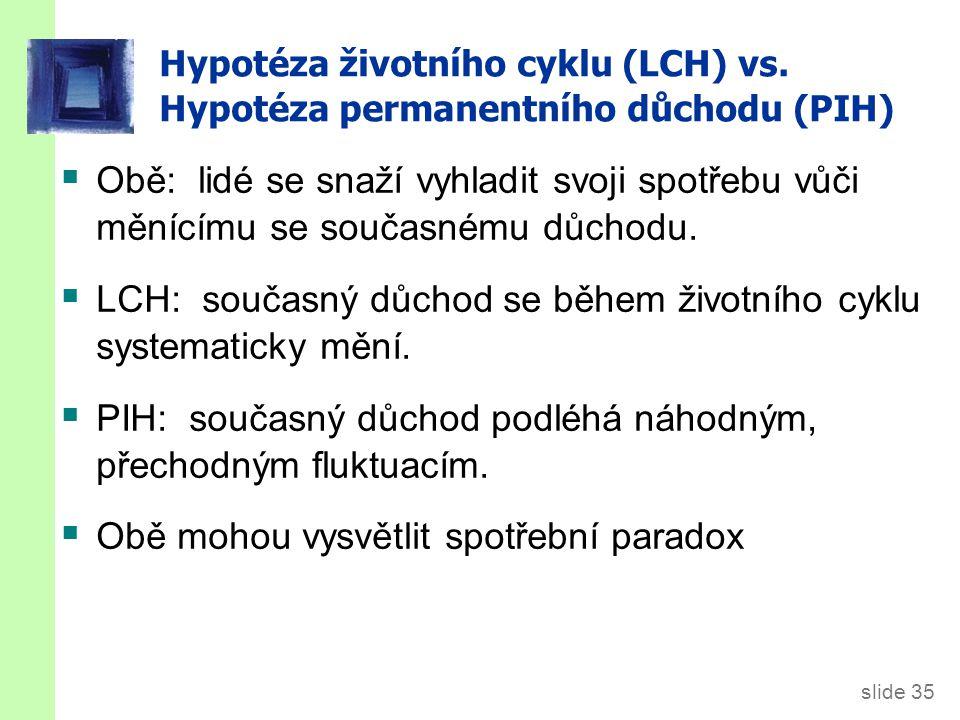 slide 35 Hypotéza životního cyklu (LCH) vs. Hypotéza permanentního důchodu (PIH)  Obě: lidé se snaží vyhladit svoji spotřebu vůči měnícímu se současn