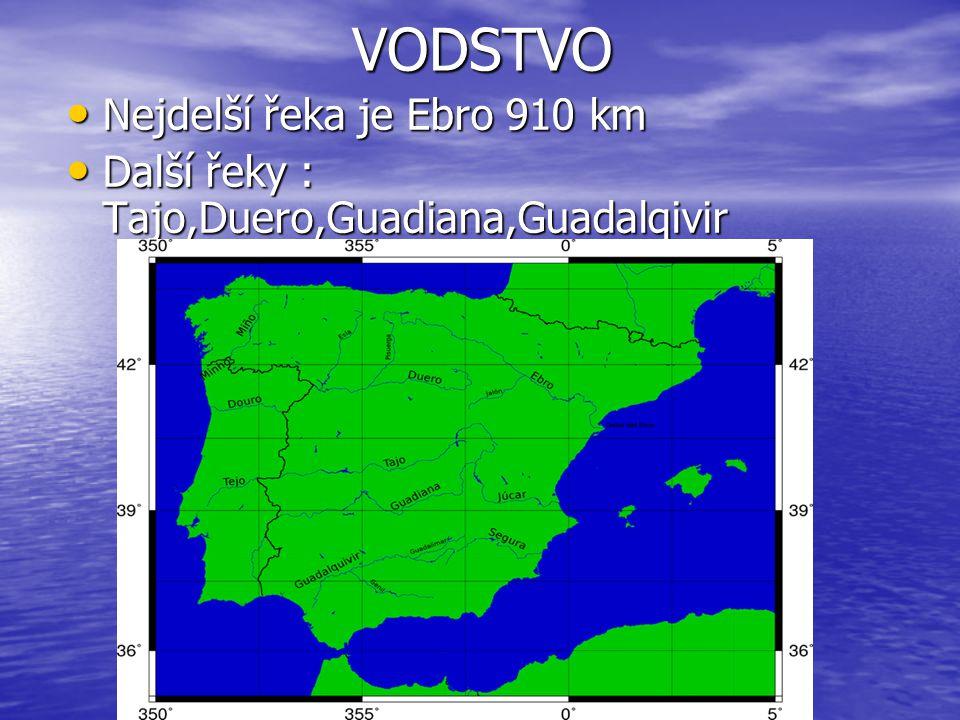 VODSTVO VODSTVO Nejdelší řeka je Ebro 910 km Nejdelší řeka je Ebro 910 km Další řeky : Tajo,Duero,Guadiana,Guadalqivir Další řeky : Tajo,Duero,Guadian