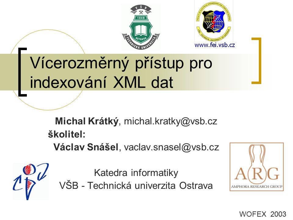 Vícerozměrný přístup pro indexování XML dat Michal Krátký, michal.kratky@vsb.cz školitel: Václav Snášel, vaclav.snasel@vsb.cz Katedra informatiky VŠB