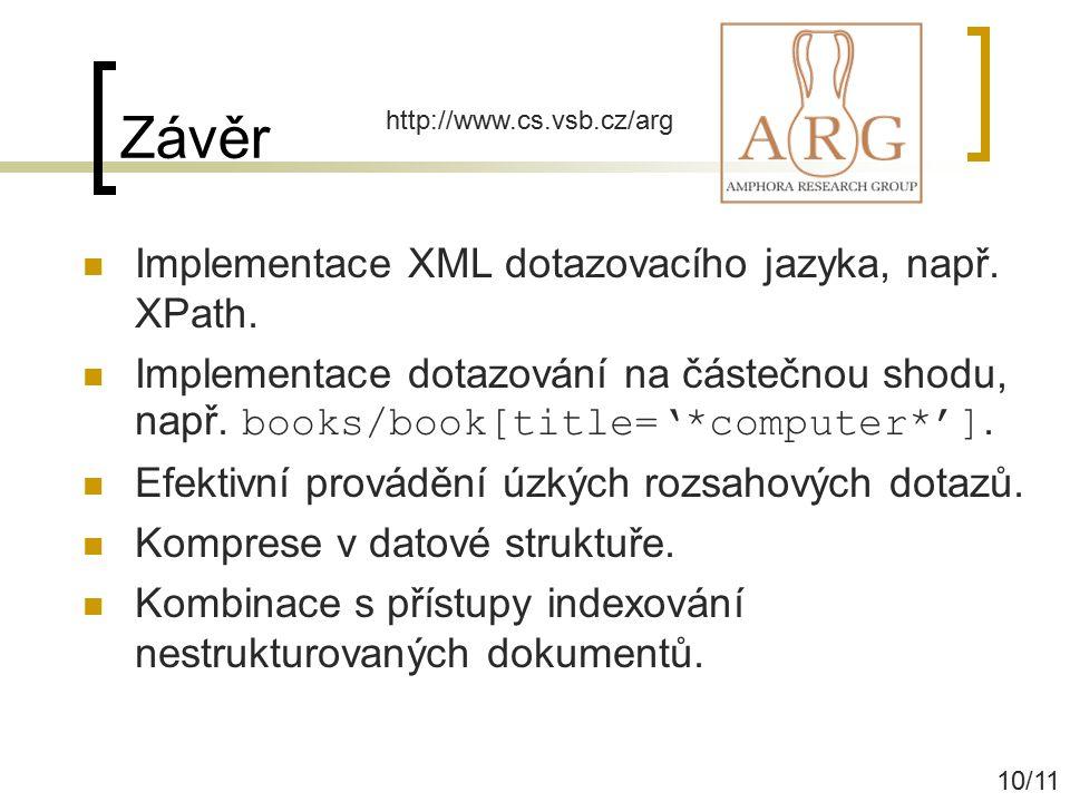 Závěr Implementace XML dotazovacího jazyka, např. XPath. Implementace dotazování na částečnou shodu, např. books/book[title='*computer*']. Efektivní p