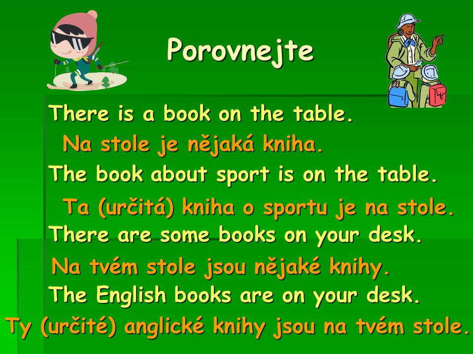 Porovnejte There is a book on the table. The book about sport is on the table.