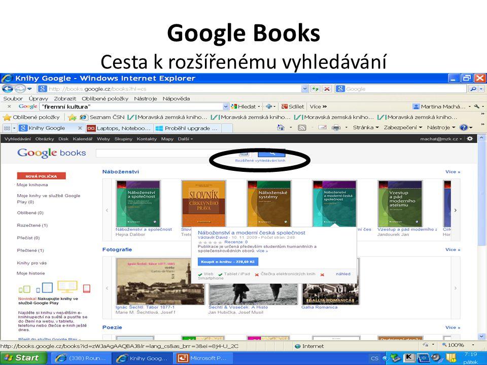 Google Books Cesta k rozšířenému vyhledávání