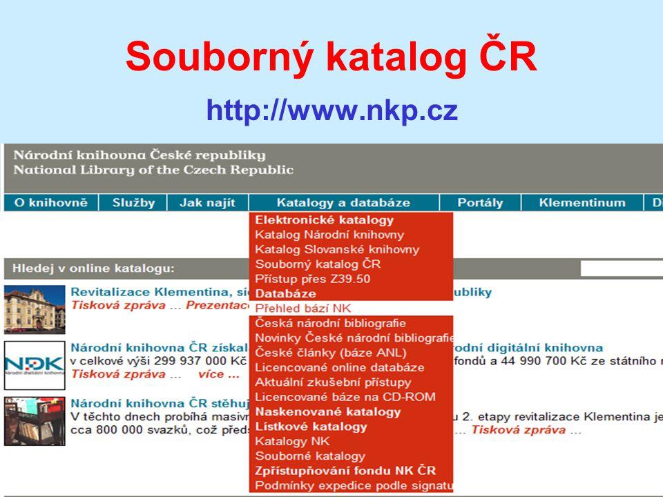 Souborný katalog ČR http://www.nkp.cz