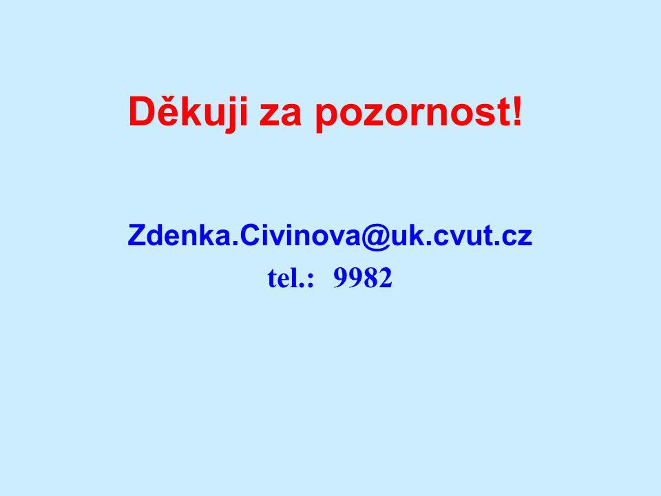 Děkuji za pozornost! Zdenka.Civinova@uk.cvut.cz tel.: 9982