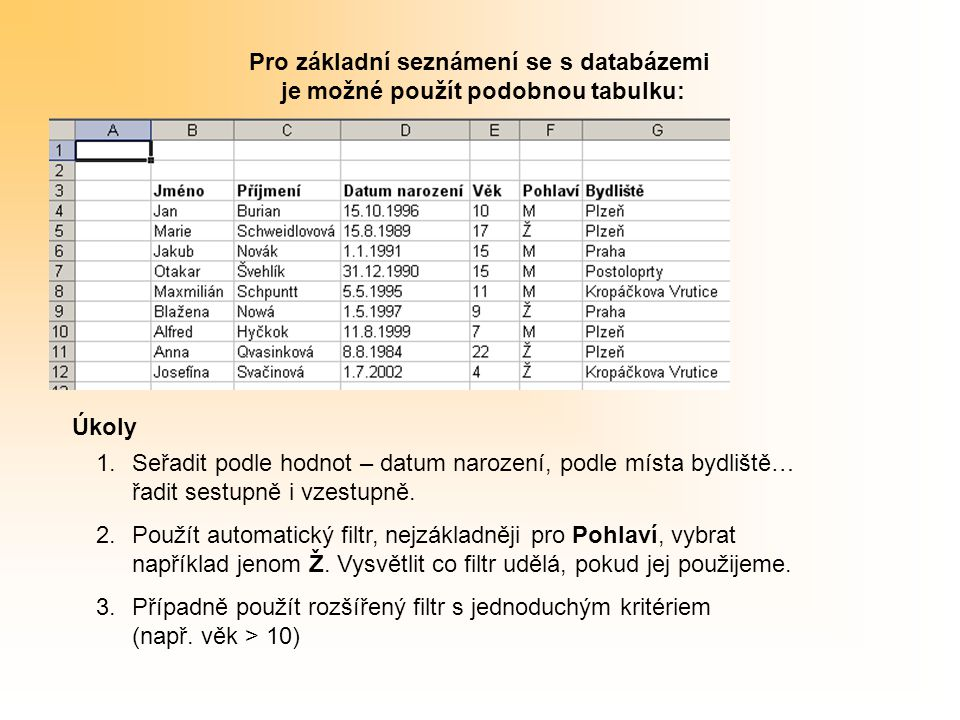 Pro základní seznámení se s databázemi je možné použít podobnou tabulku: 1.Seřadit podle hodnot – datum narození, podle místa bydliště… řadit sestupně i vzestupně.