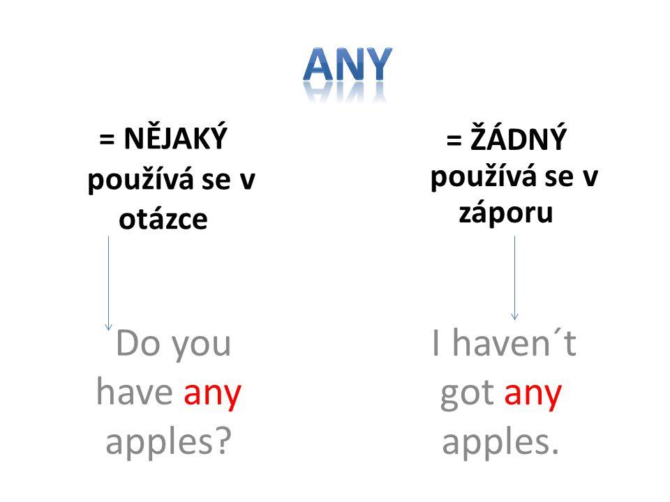 = NĚJAKÝ používá se v otázce Do you have any apples.