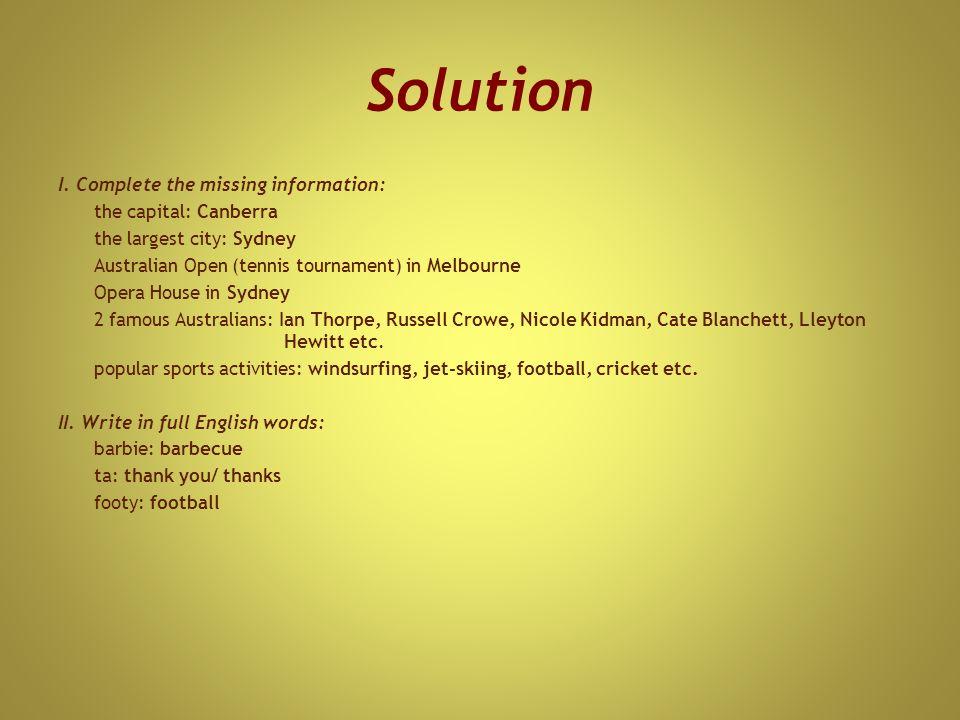 Solution I.