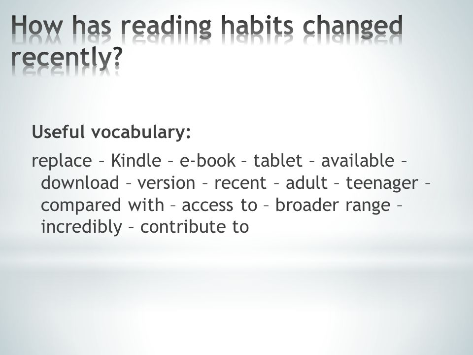 Useful vocabulary: replace – Kindle – e-book – tablet – available – download – version – recent – adult – teenager – compared with – access to – broad