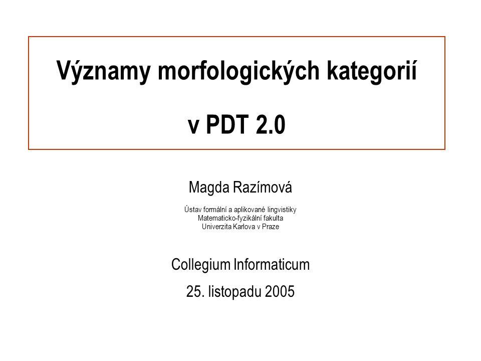 Významy morfologických kategorií v PDT 2.0 Magda Razímová Ústav formální a aplikované lingvistiky Matematicko-fyzikální fakulta Univerzita Karlova v P