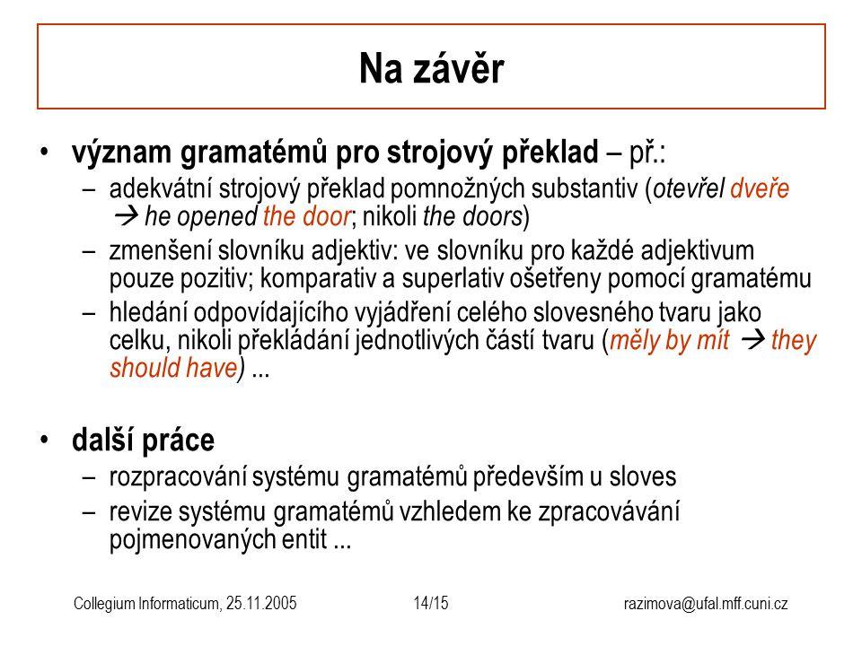 14/15razimova@ufal.mff.cuni.czCollegium Informaticum, 25.11.2005 Na závěr význam gramatémů pro strojový překlad – př.: –adekvátní strojový překlad pom