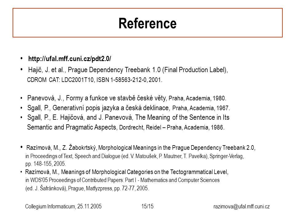 15/15razimova@ufal.mff.cuni.czCollegium Informaticum, 25.11.2005 Reference http://ufal.mff.cuni.cz/pdt2.0/ Hajič, J. et al., Prague Dependency Treeban