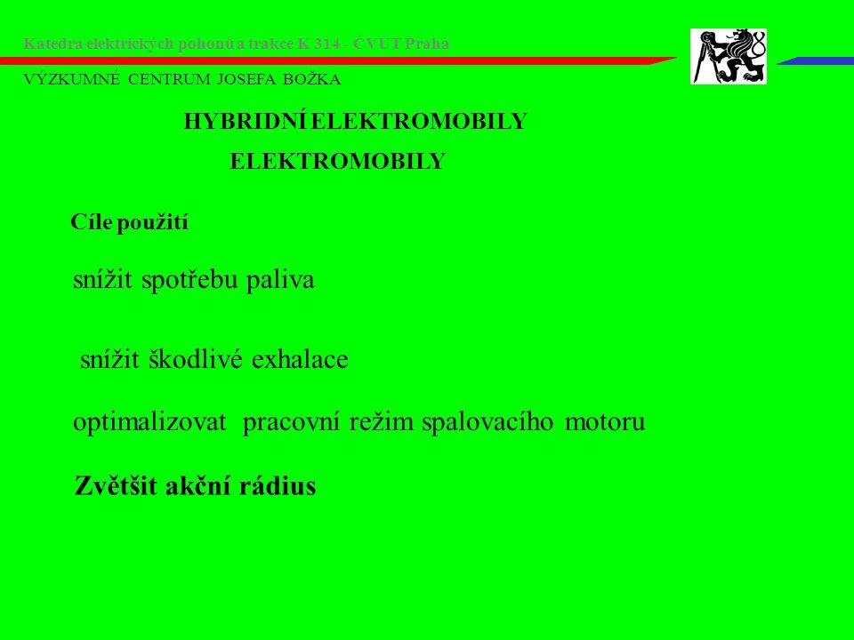 VÝZKUMNÉ CENTRUM JOSEFA BOŽKA Katedra elektrických pohonů a trakce K 314 - ČVUT Praha Hybridní vozidla:Toyota Motor: 2,4l 5,6l/100km Baterie: Ni-MH Prodáno: 5886 kusů http://www.motormania.sk/art.ltc/178 Estima - hybrid