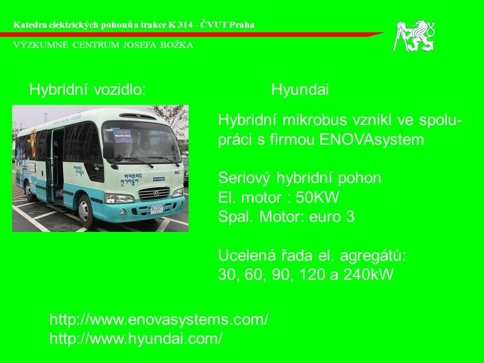VÝZKUMNÉ CENTRUM JOSEFA BOŽKA Katedra elektrických pohonů a trakce K 314 - ČVUT Praha Hybridní vozidlo:Hyundai Hybridní mikrobus vznikl ve spolu- práci s firmou ENOVAsystem Seriový hybridní pohon El.