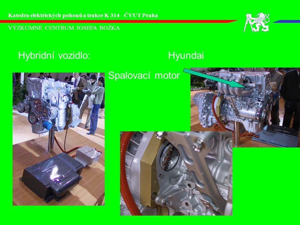 VÝZKUMNÉ CENTRUM JOSEFA BOŽKA Katedra elektrických pohonů a trakce K 314 - ČVUT Praha Elektromobil:Hyundai Motor: AM 60kW Baterie: 12Vx25 Ni-MH cca 50kWh Převodovka: - Váha: 1860kg Rychlost max:128km/h Akcelerace 0-100km/h:19s Dojezd: 160km Palubní nabíječ: 6,6kW/8h SANTA-FE EV