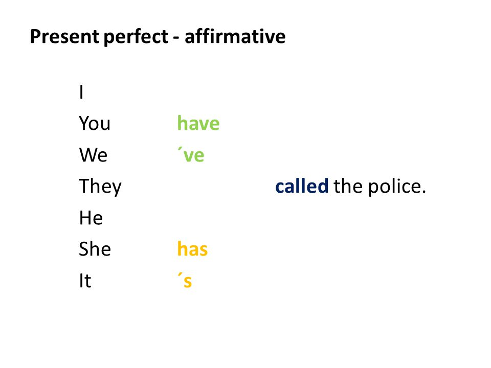 Present perfect - affirmative I Youhave We´ve Theycalled the police. He Shehas It´s