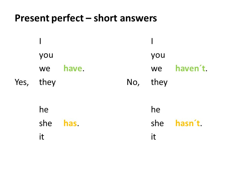 Present perfect – short answers I you wehave. Yes,they he shehas.