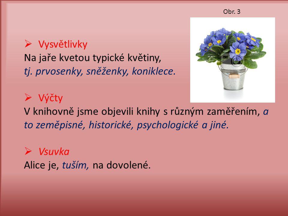  Vysvětlivky Na jaře kvetou typické květiny, tj. prvosenky, sněženky, koniklece.  Výčty V knihovně jsme objevili knihy s různým zaměřením, a to země