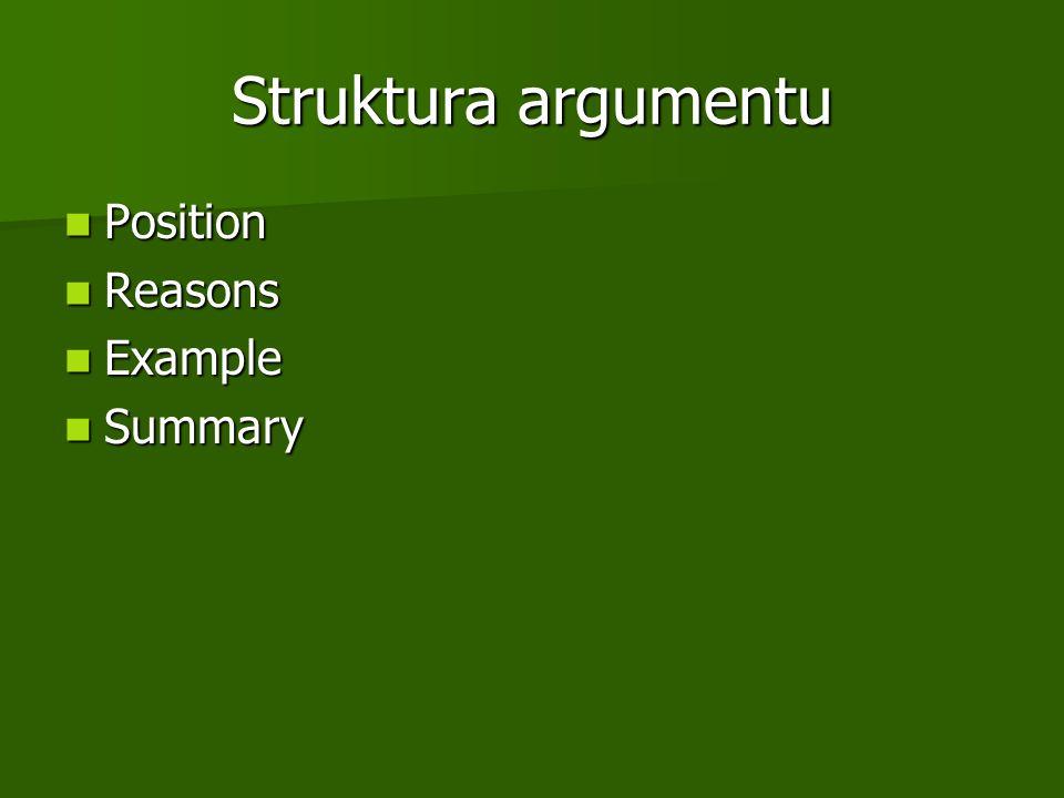 Struktura argumentu Position Position Reasons Reasons Example Example Summary Summary