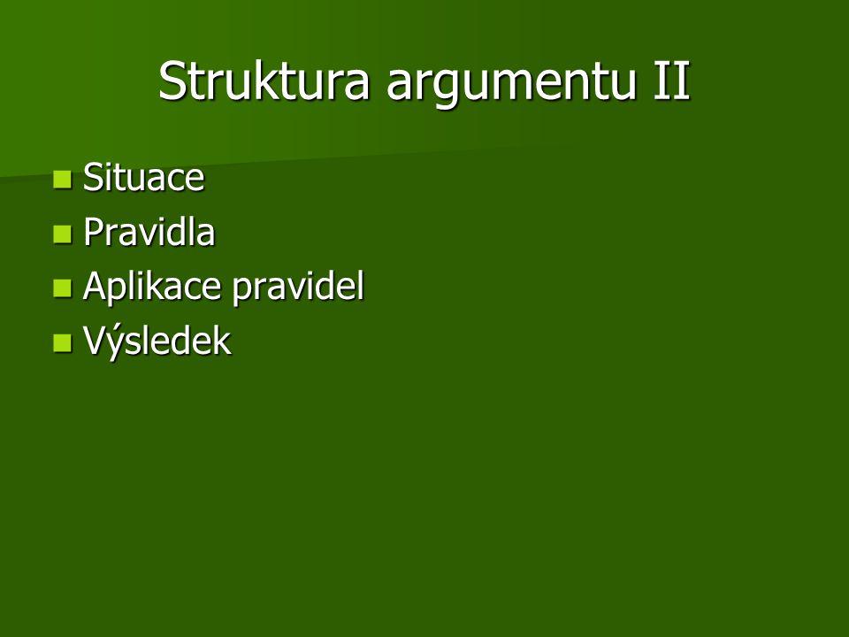 Struktura argumentu II Situace Situace Pravidla Pravidla Aplikace pravidel Aplikace pravidel Výsledek Výsledek