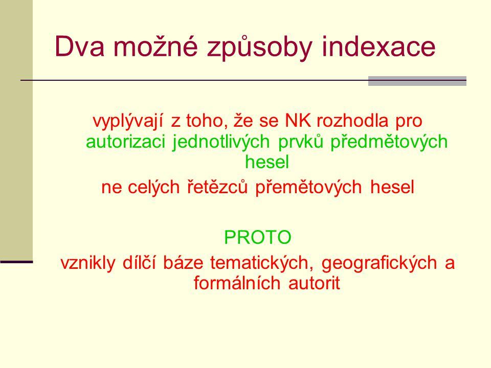 Dva možné způsoby indexace vyplývají z toho, že se NK rozhodla pro autorizaci jednotlivých prvků předmětových hesel ne celých řetězců přemětových hesel PROTO vznikly dílčí báze tematických, geografických a formálních autorit