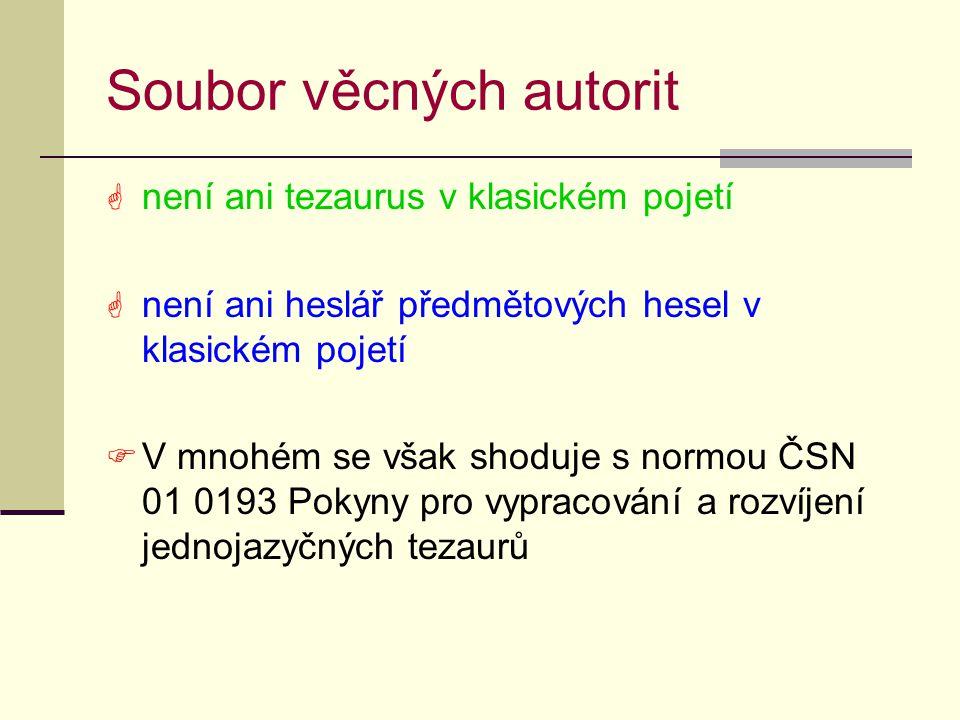 Soubor věcných autorit  není ani tezaurus v klasickém pojetí  není ani heslář předmětových hesel v klasickém pojetí  V mnohém se však shoduje s normou ČSN 01 0193 Pokyny pro vypracování a rozvíjení jednojazyčných tezaurů