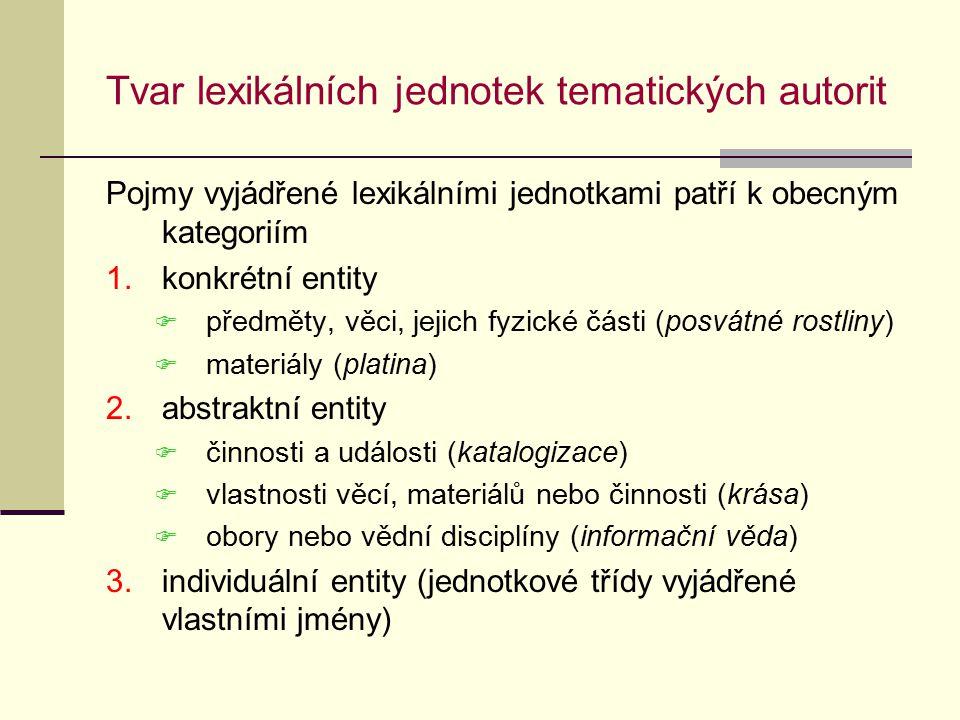 Tvar lexikálních jednotek tematických autorit Pojmy vyjádřené lexikálními jednotkami patří k obecným kategoriím 1.konkrétní entity  předměty, věci, jejich fyzické části (posvátné rostliny)  materiály (platina) 2.abstraktní entity  činnosti a události (katalogizace)  vlastnosti věcí, materiálů nebo činnosti (krása)  obory nebo vědní disciplíny (informační věda) 3.individuální entity (jednotkové třídy vyjádřené vlastními jmény)
