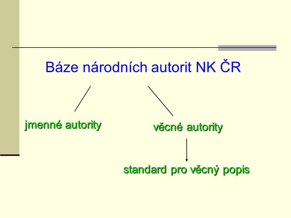 jmenné autority věcné autority standard pro věcný popis Báze národních autorit NK ČR