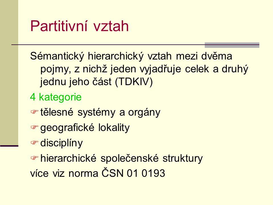 Partitivní vztah Sémantický hierarchický vztah mezi dvěma pojmy, z nichž jeden vyjadřuje celek a druhý jednu jeho část (TDKIV) 4 kategorie  tělesné systémy a orgány  geografické lokality  disciplíny  hierarchické společenské struktury více viz norma ČSN 01 0193