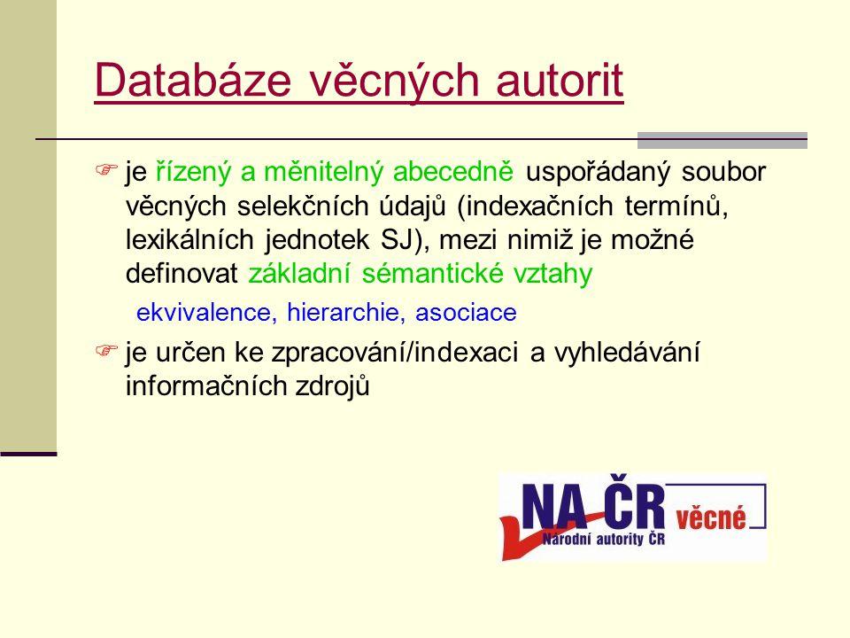 Databáze věcných autorit  je řízený a měnitelný abecedně uspořádaný soubor věcných selekčních údajů (indexačních termínů, lexikálních jednotek SJ), mezi nimiž je možné definovat základní sémantické vztahy ekvivalence, hierarchie, asociace  je určen ke zpracování/indexaci a vyhledávání informačních zdrojů