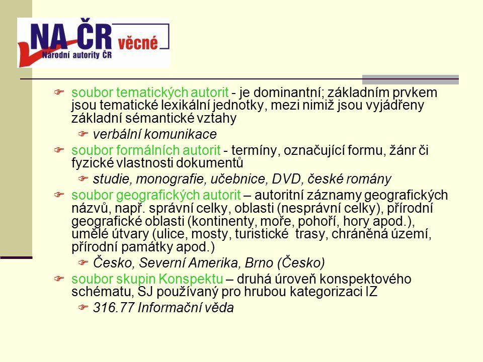  soubor tematických autorit - je dominantní; základním prvkem jsou tematické lexikální jednotky, mezi nimiž jsou vyjádřeny základní sémantické vztahy  verbální komunikace  soubor formálních autorit - termíny, označující formu, žánr či fyzické vlastnosti dokumentů  studie, monografie, učebnice, DVD, české romány  soubor geografických autorit – autoritní záznamy geografických názvů, např.