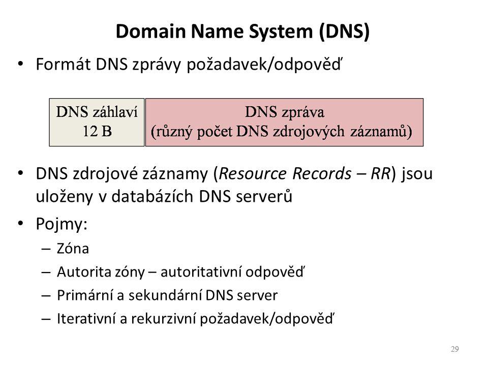 29 Formát DNS zprávy požadavek/odpověď DNS zdrojové záznamy (Resource Records – RR) jsou uloženy v databázích DNS serverů Pojmy: – Zóna – Autorita zóny – autoritativní odpověď – Primární a sekundární DNS server – Iterativní a rekurzivní požadavek/odpověď 29 Domain Name System (DNS)